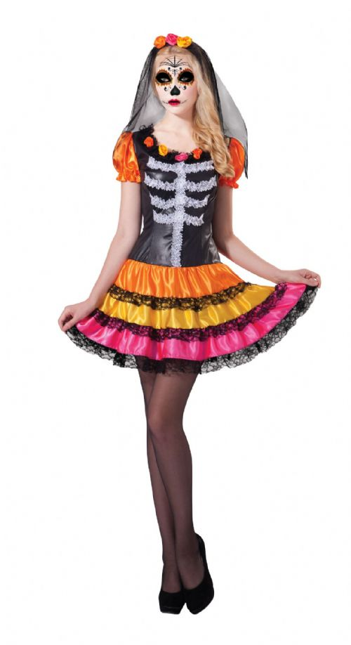 Ladies Day of the Dead Lady Costume Walking Dead halloween Zombie Fancy Dress